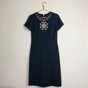 1960s Mod Wool Rhinestone embellished shift dress